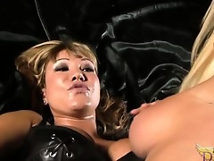 Ava Devine dominates Nikita Von James by making out her with a strapon