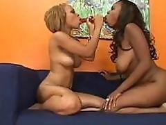Lickerish ebony lesbians use big dildo