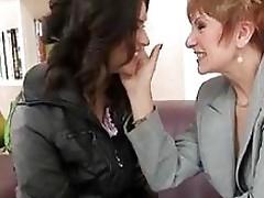 Roasting milf lesbian added to lesbian granny banging
