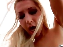 Blond Darling Sammie Rhodes Bounces Their way Twat Unaffected by A Eyeless Rubber Strap Unaffected by