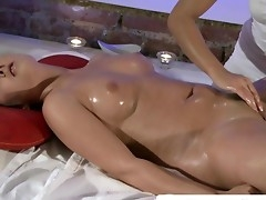 Lesbian Massage playgirl gets fingered and loves it