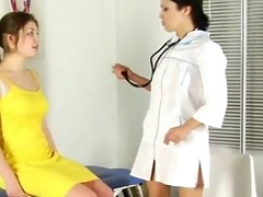 Lesbian pollute examines her patient